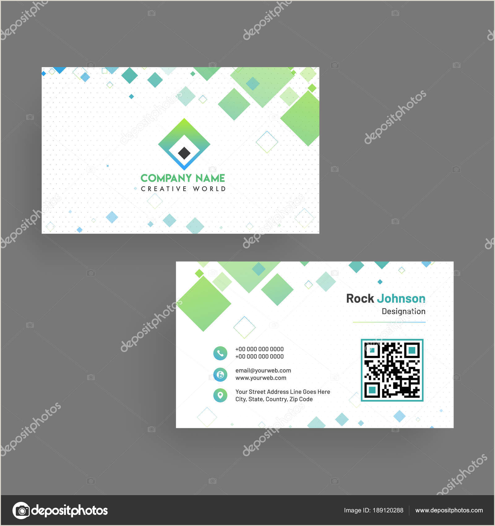 Unique Horizontal Business Cards Horizontal Business Card With Front And Back Presentation