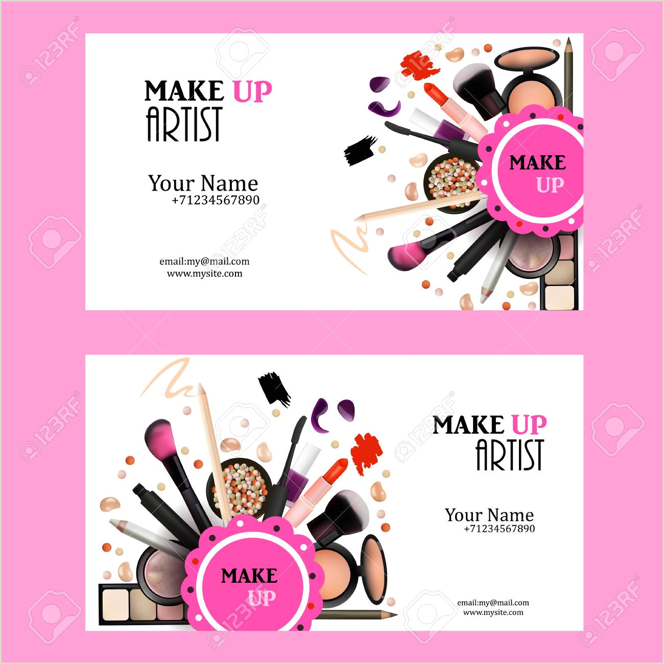 Unique Makeup Business Cards Make Up Artist Business Card Design Set Cosmetic Products Vector
