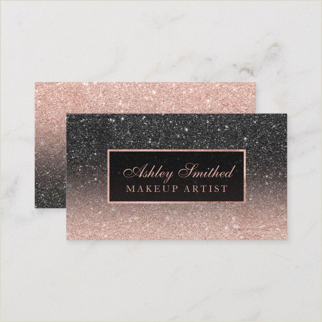 Unique Makeup Business Cards Modern Black Rose Gold Glitter Chic Ombre Makeup Business