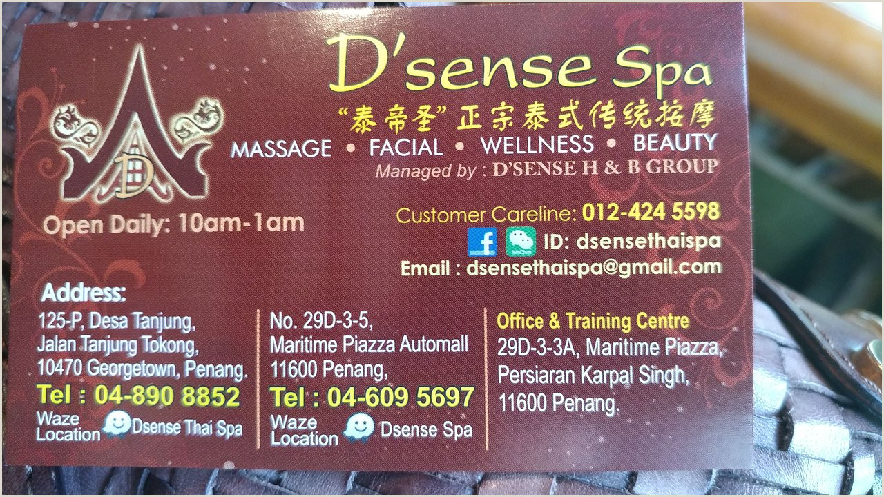 Unique Massage Business Cards D Sense Thai Massage Tanjung Tokong 2020 All You Need To