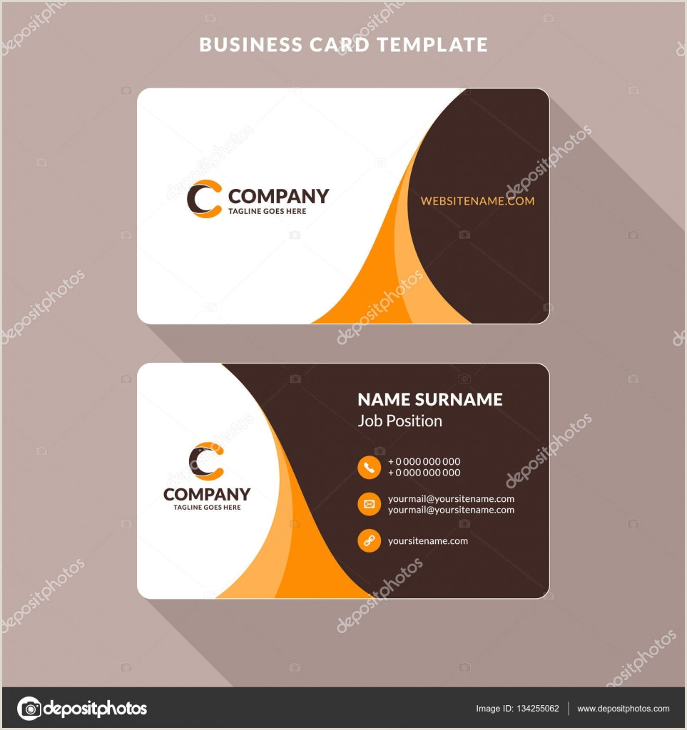 Unique Paper For Business Cards Creative And Clean Double Sided Business Card Template Orange And Brown Colors Flat Design Vector Illustration Stationery Design