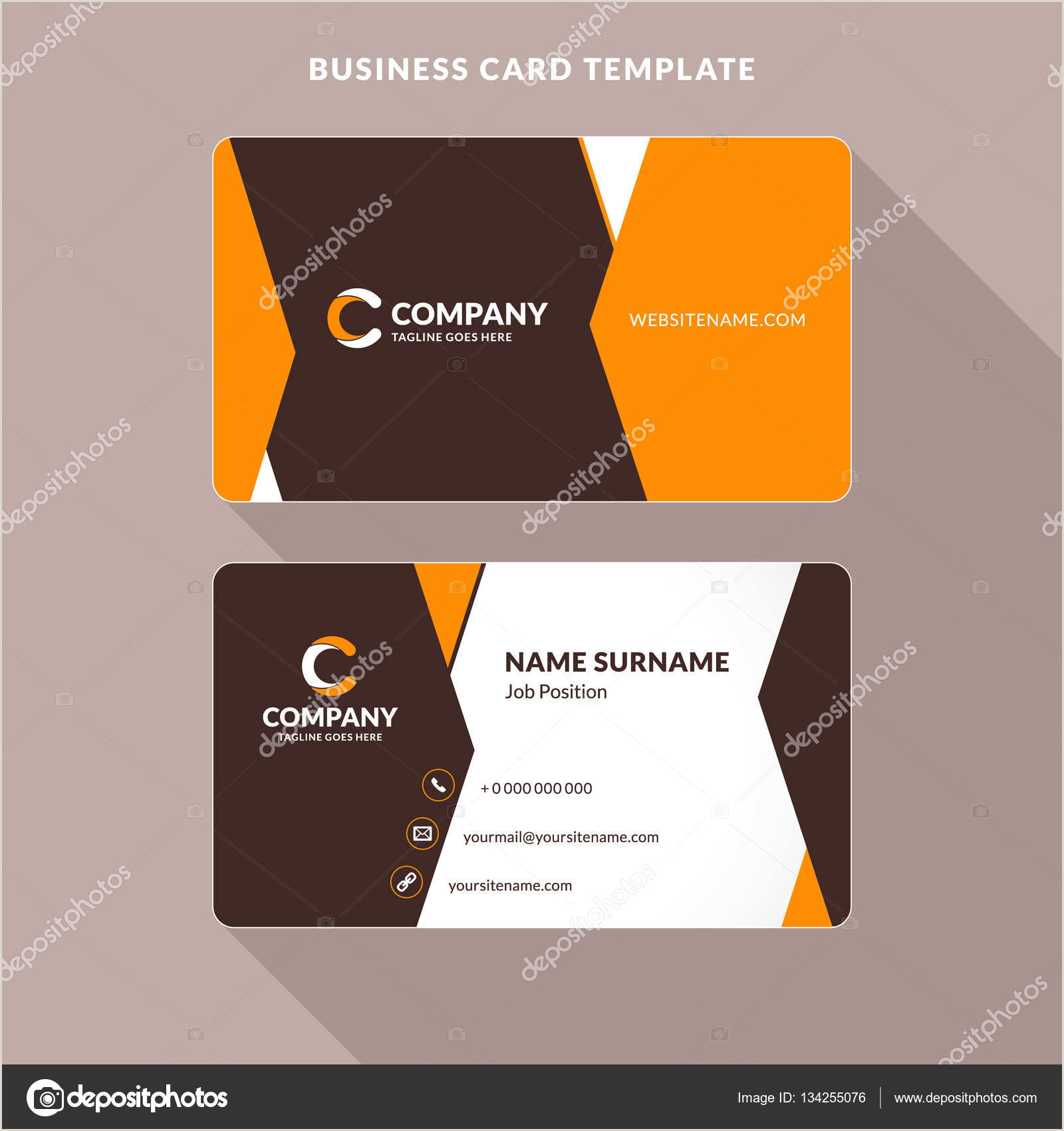 Unique Paper To Print Business Cards Creative And Clean Double Sided Business Card Template Orange And Brown Colors Flat Design Vector Illustration Stationery Design