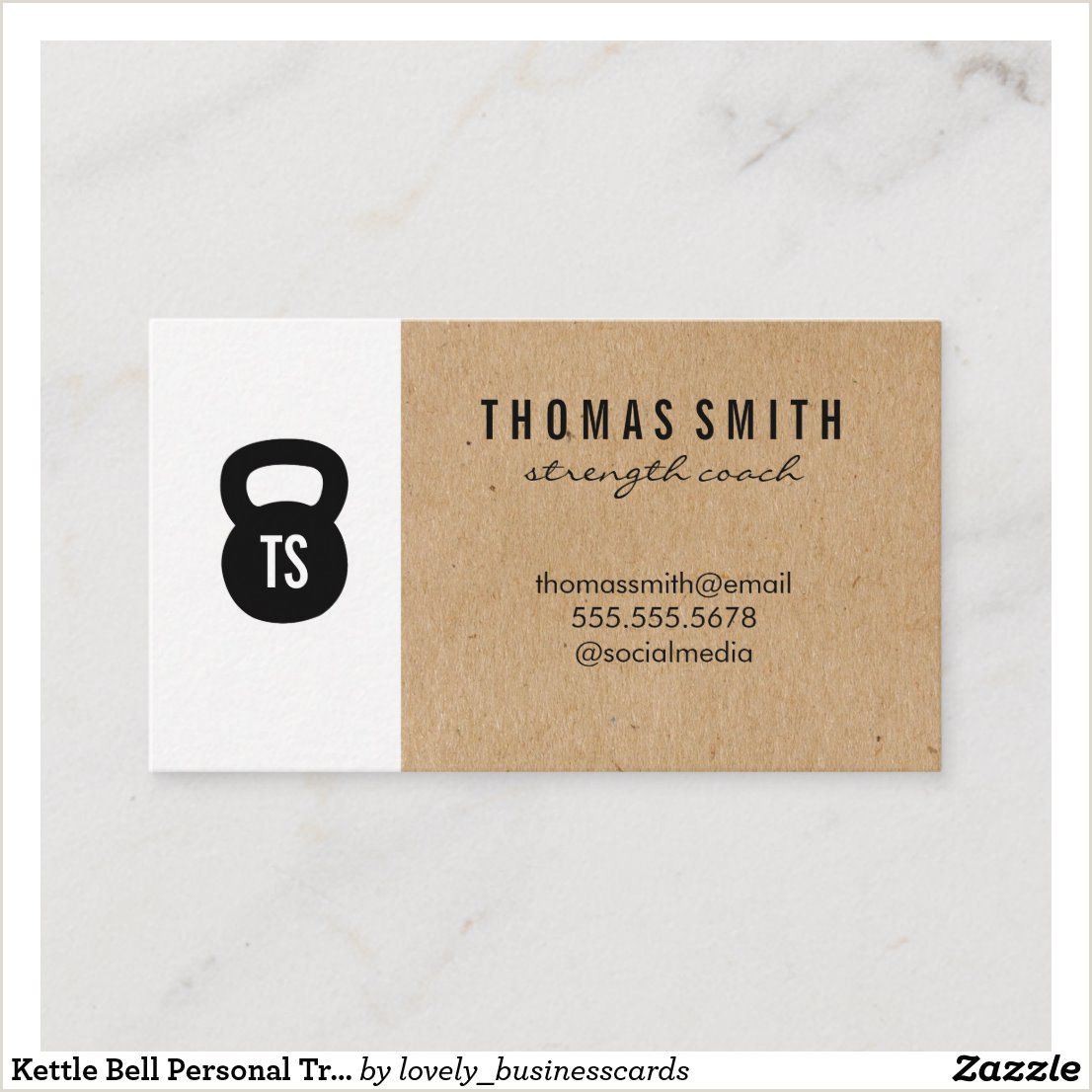 Unique Personal Trainer Business Cards Kettle Bell Personal Trainer Natural Color Block Business