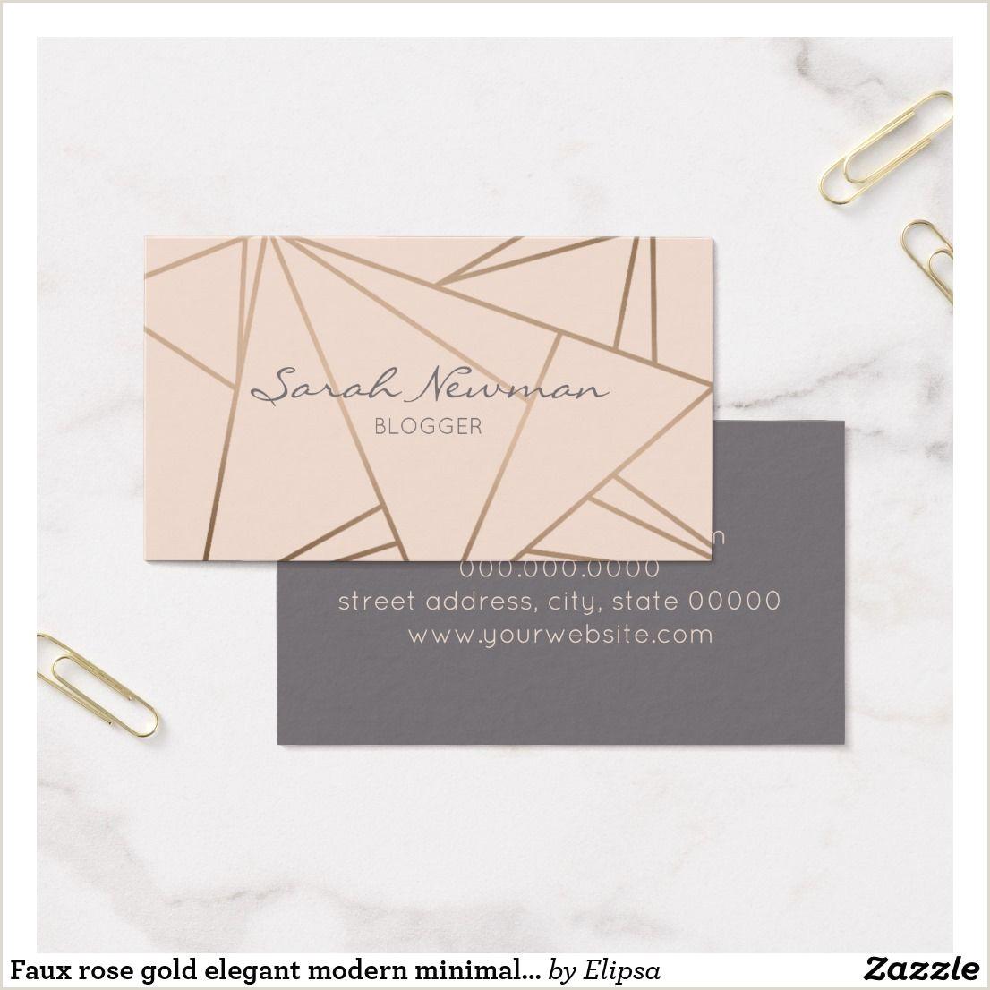 Unique Rose Gold Business Cards Faux Rose Gold Elegant Modern Minimalist Geometric Business