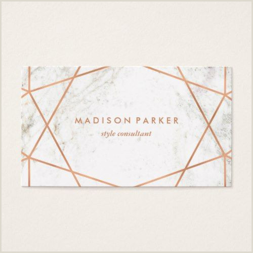 Unique Rose Gold Business Cards Modern Faux Rose Gold Geometric On White Marble Business