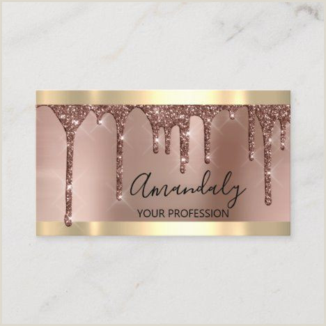 Unique Rose Gold Business Cards Professional Makeup Artist Lashes Drips Rose Gold Business