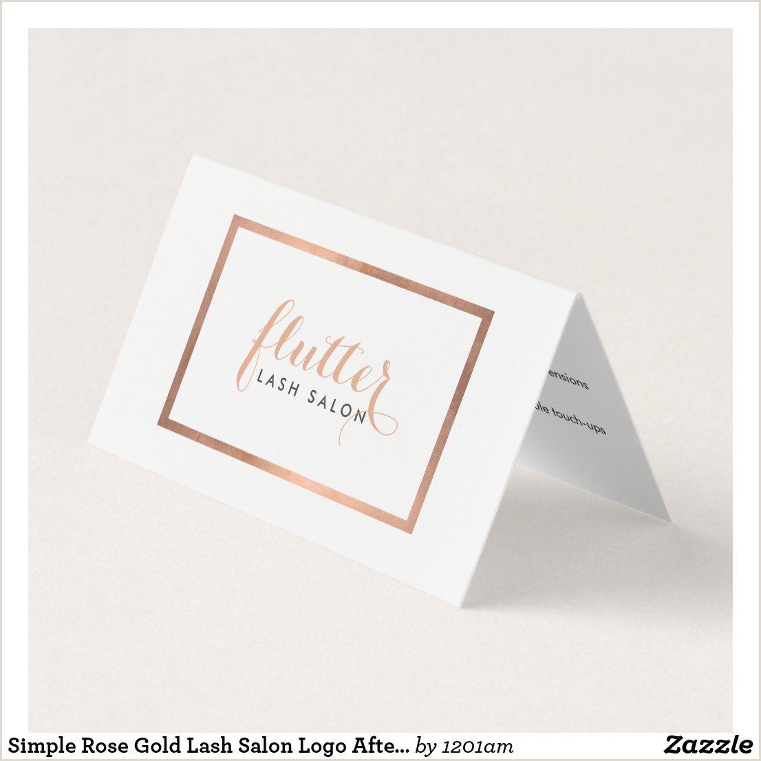 Unique Rose Gold Business Cards Simple Rose Gold Lash Salon Logo Aftercare Card