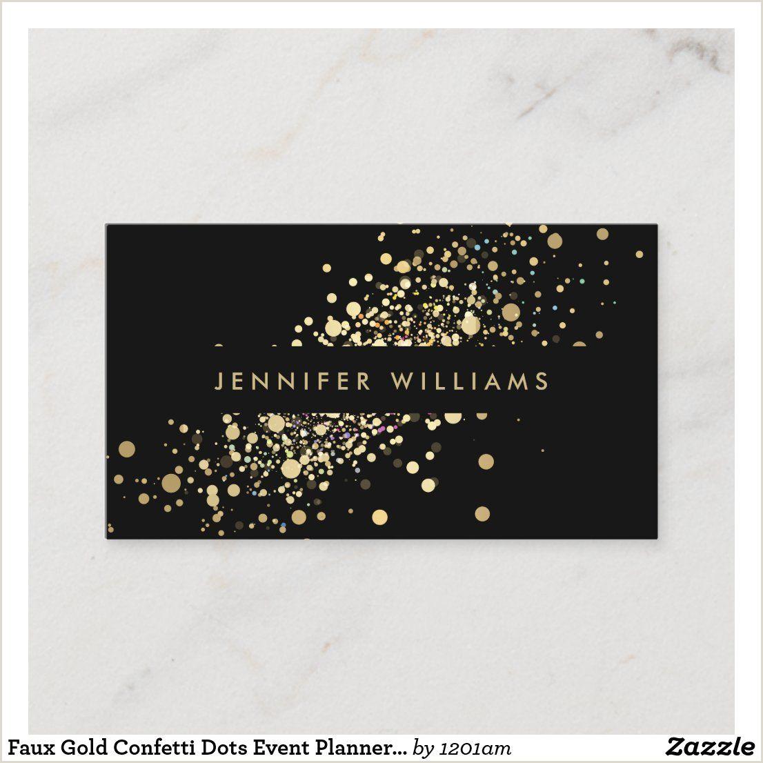 Unique Sparkly Business Cards Faux Gold Confetti Dots Event Planner Stylist Business Card