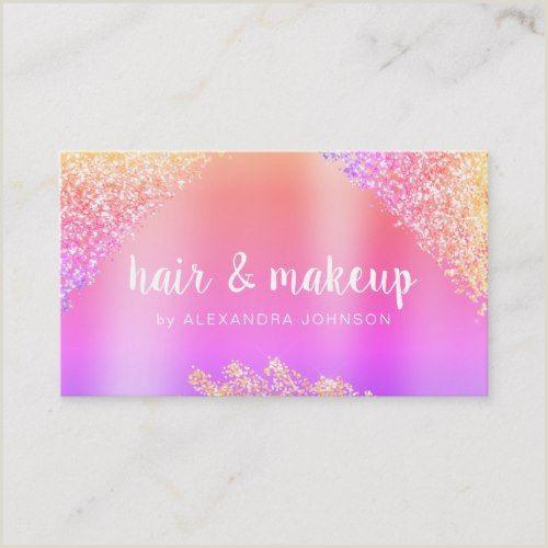 Unique Sparkly Business Cards Rainbow Glitter Sparkle Hair Makeup Beauty Business Card