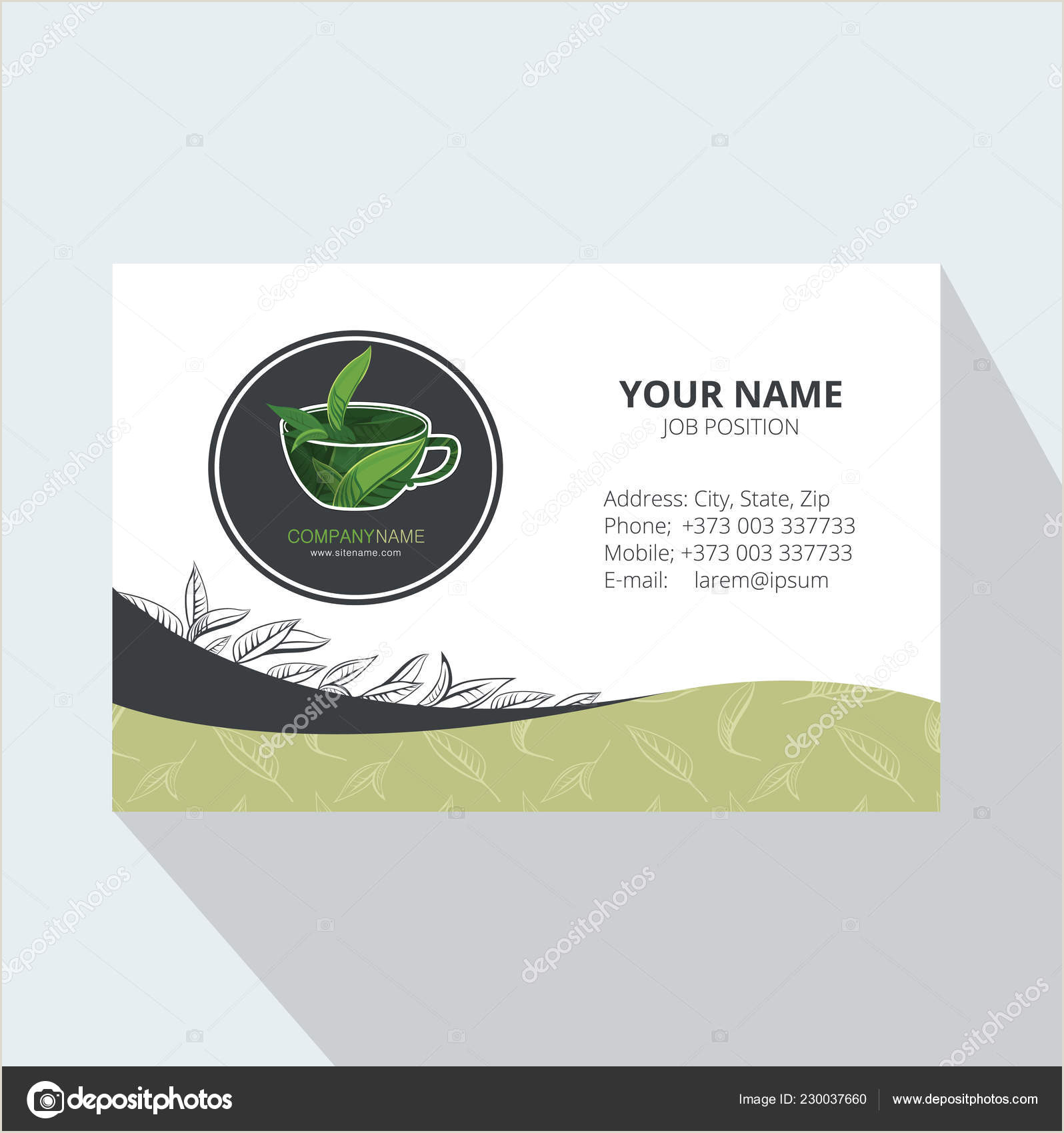 Unique Tea Shop Business Cards Hand Drawn Cup Of Green Tea Business Card Template