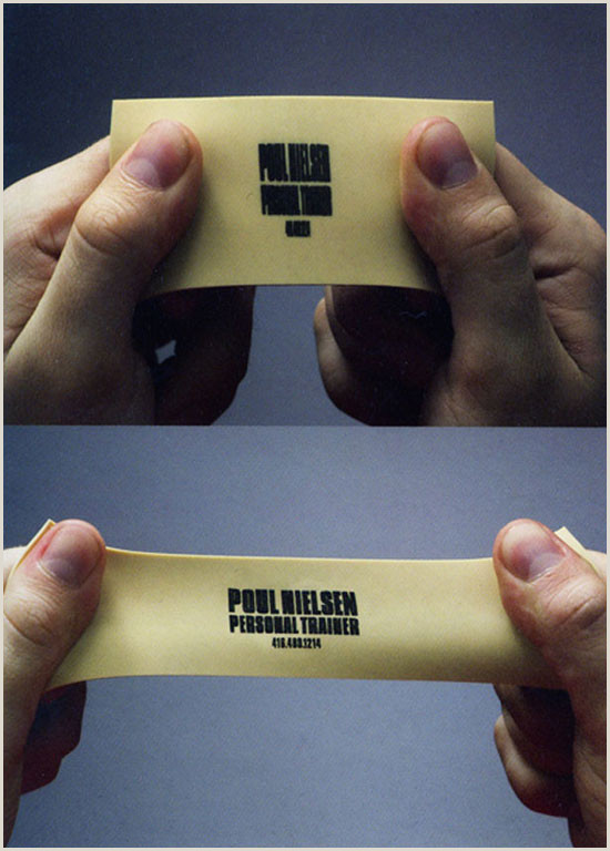 Unique Ways To Hand Out Business Cards Stretchy Personal Trainer S Business Card Creative Idea