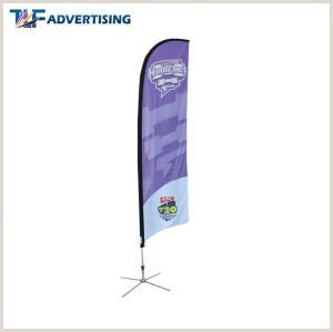 Vertical Banner Holder Polyester Fabric Custom Flag Banners Roadside Advertising