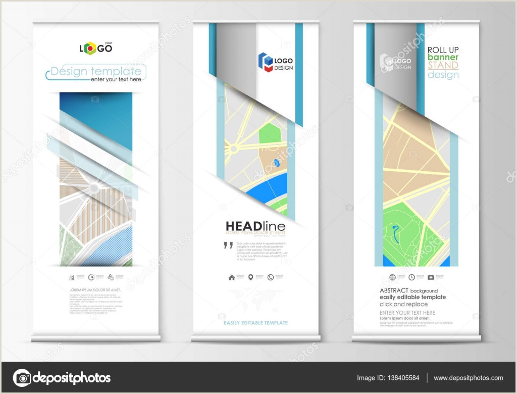 Vertical Banners And Stands Set Of Roll Up Banner Stands Geometric Style Modern Business Concept Corporate Vertical Flyers Flag Layouts City Map With Streets Flat Design