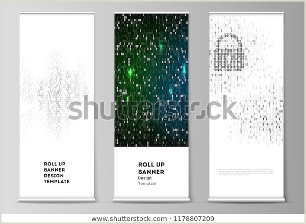 Vertical Banners And Stands Vector Layout Roll Banner Stands Vertical Stock Vector