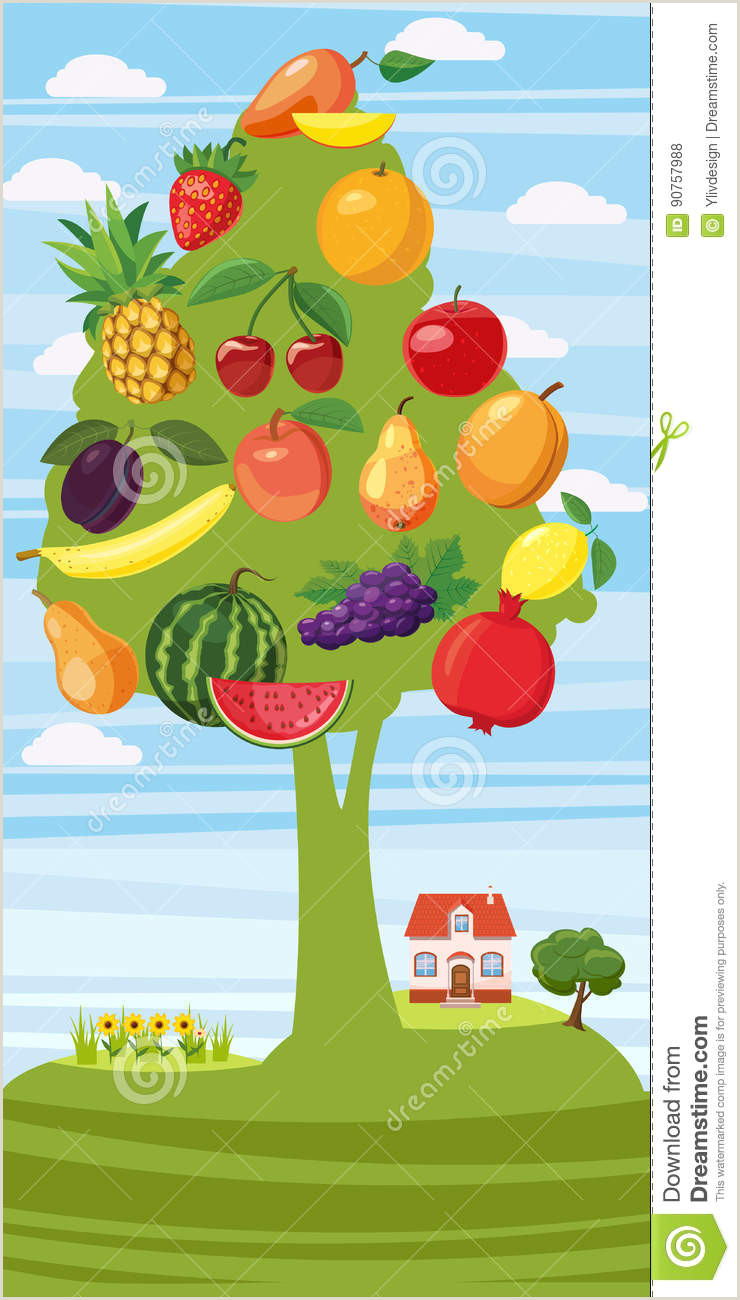 Vertical Banners Design Fruits Tree Vertical Banner Cartoon Style Stock Vector
