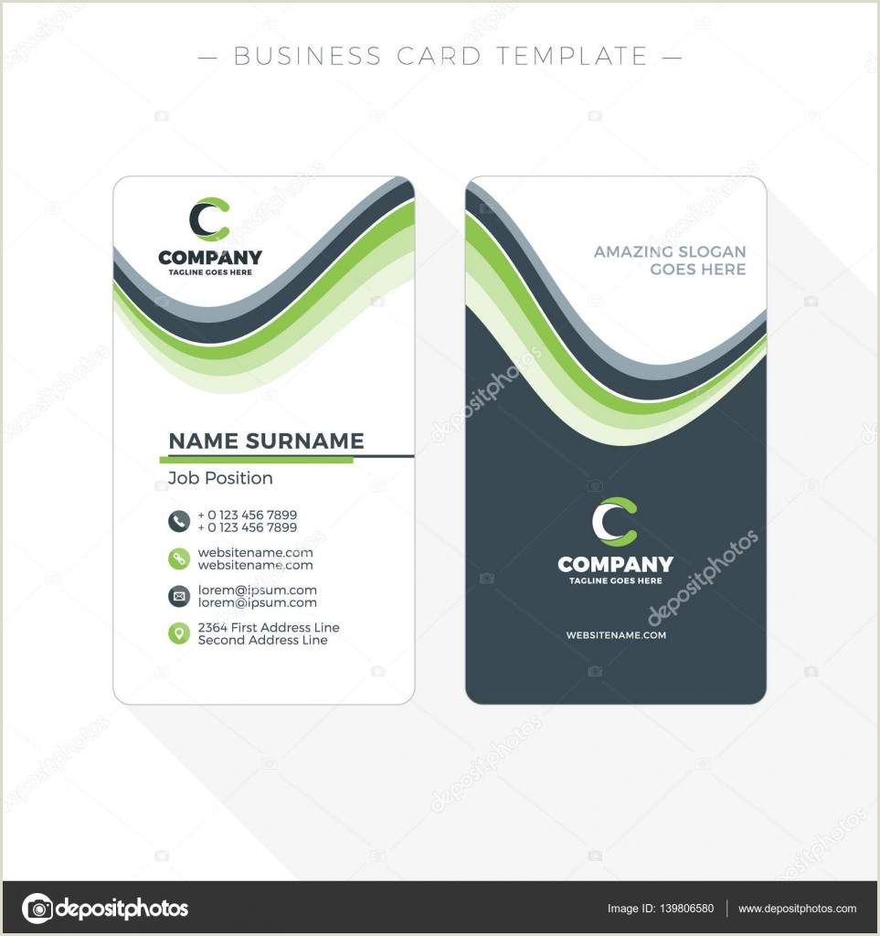 Vertical Business Card Design Vertical Double Sided Business Card Template With Abstract Green And Black Waves Background Vector Illustration Stationery Design
