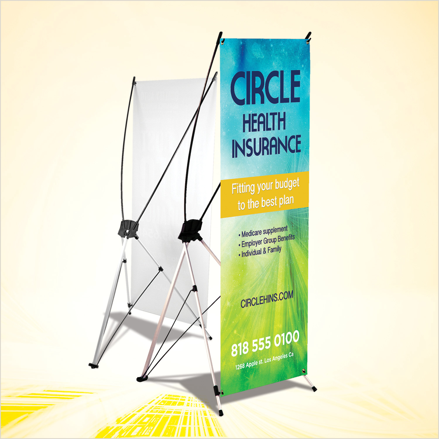 """Vinyl Banner With Stand X Style Indoor Banner Stand 24"""" X 60"""" 10mil Vinyl Collapsible"""