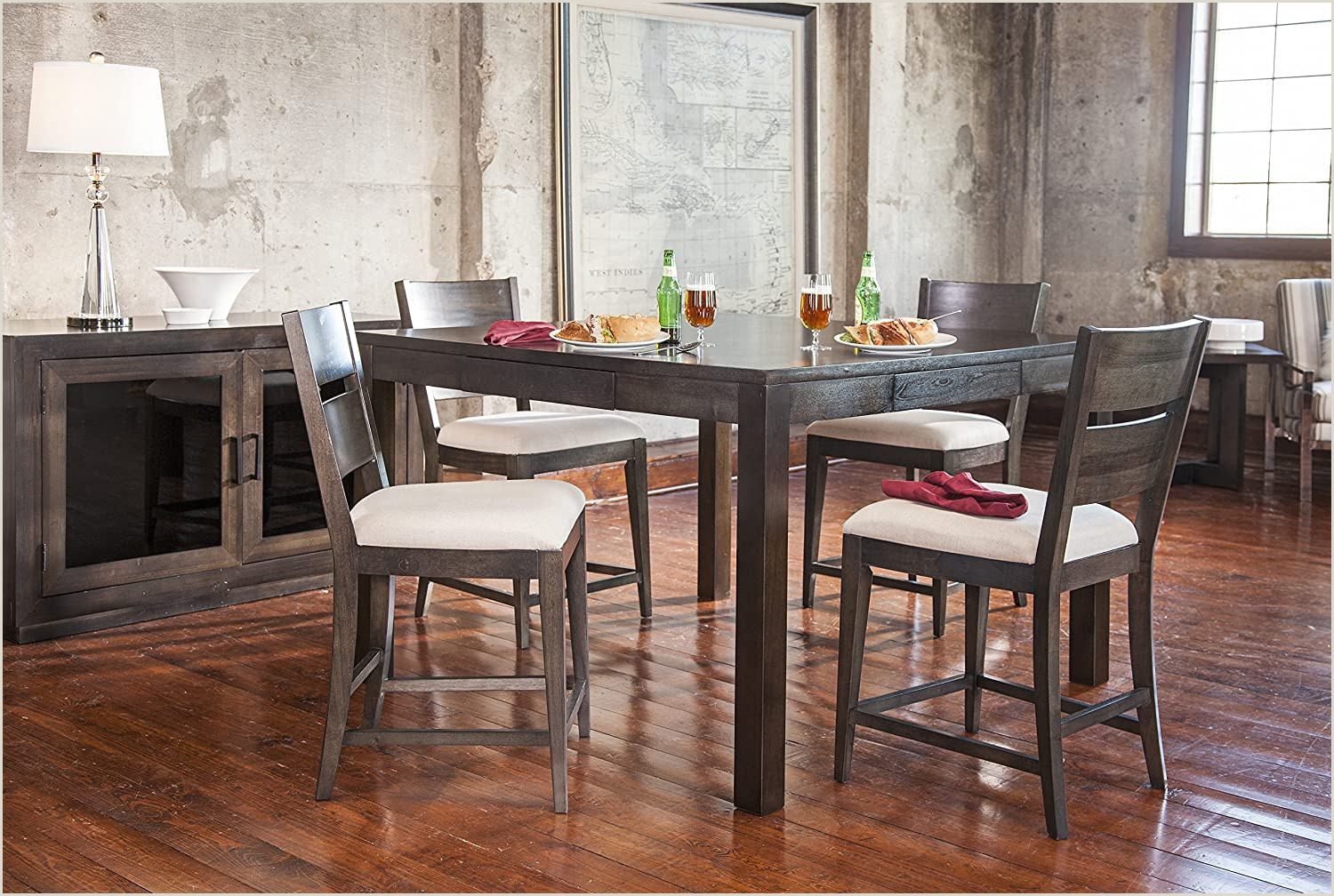 Vinyl Table Banner Furniture At Home Food And Wine Reserve Collection Counter Height Table Ebony