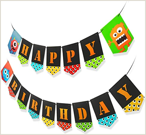 Vinyl Table Banner Monster Bash Birthday Decoration Pack For Kids Happy Birthday Banner Swirls Cupcake Toppers Birthday Party Supplies For Kids Boys Girls