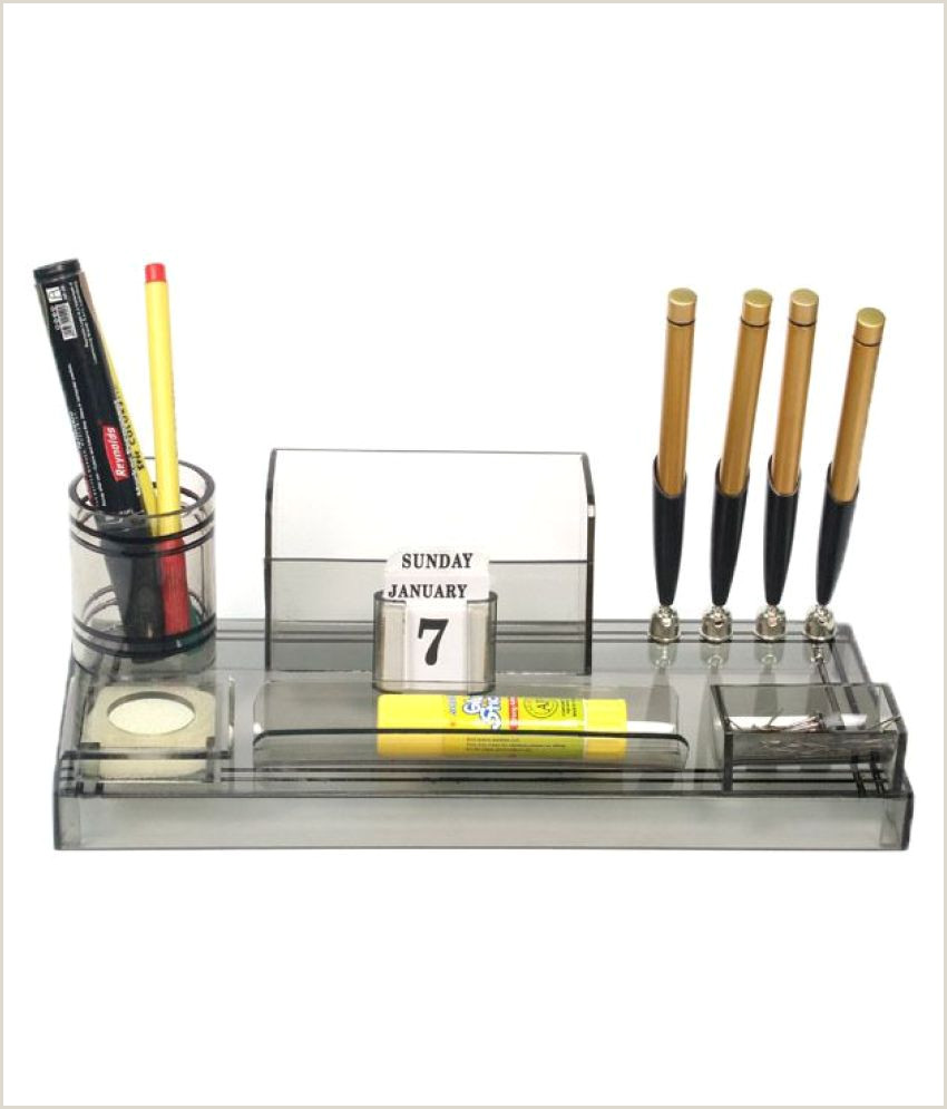 Visiting Cards Rasper Acrylic Pen Stand Table Top With 4 Pen Holder And Visiting Card Holder