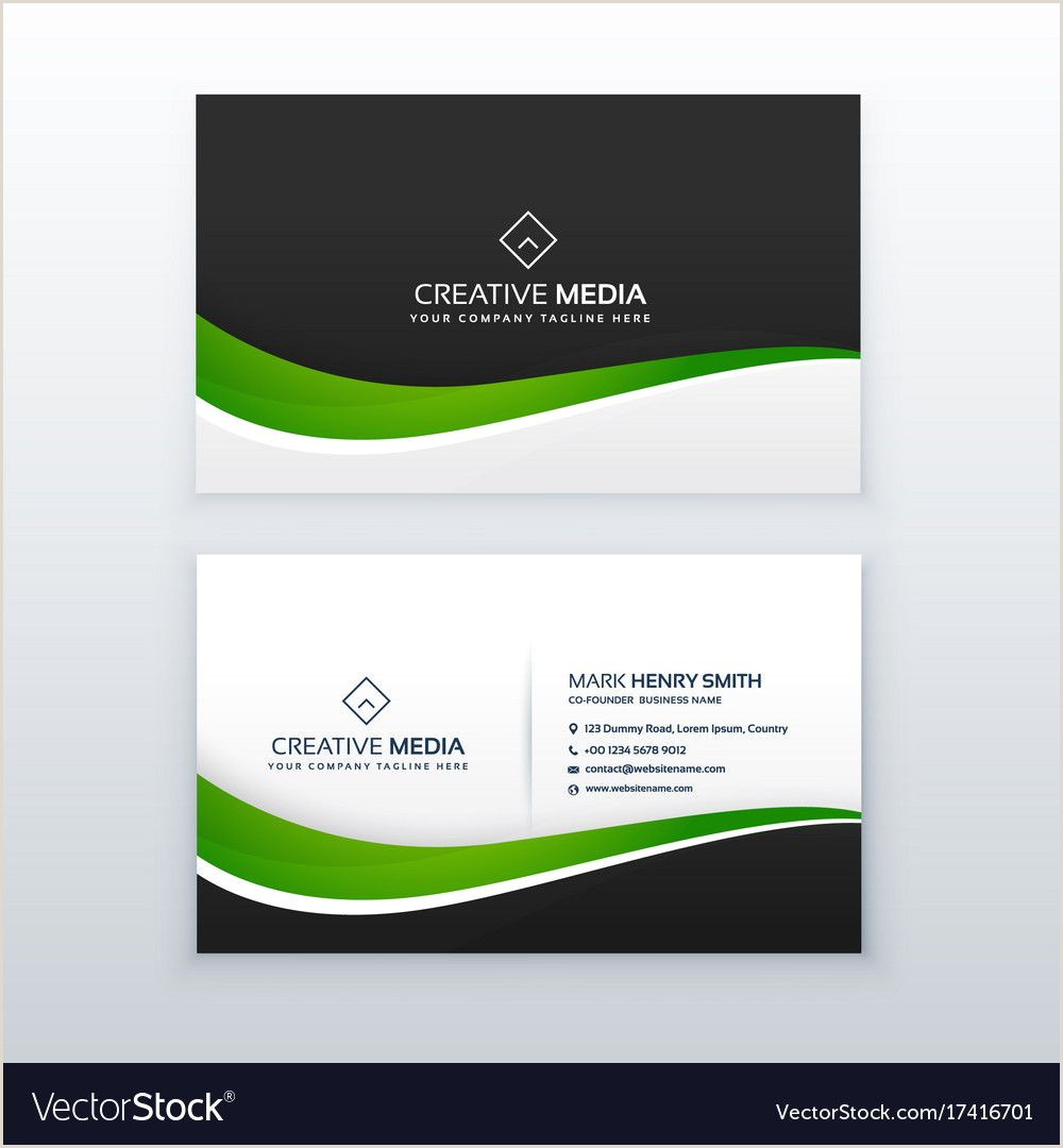 Visiting Cards Sample Green Business Card Professional Design Template With