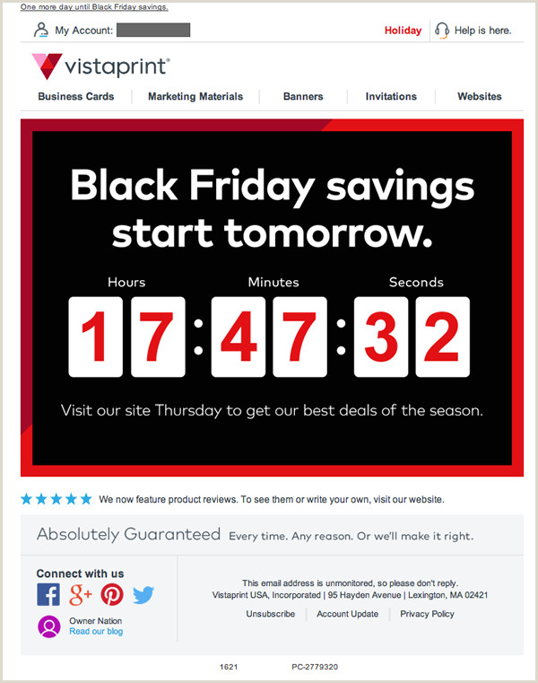 Vistaprint Banner Review Vistaprint Email Review Is This Countdown To Black Friday A