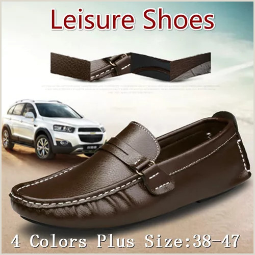 Visting Card New Outdoor Fashion Flat Shoes Men Fortable Leather Loafers Slip Casual Driving Shoes For Men Plus Size 38 47 Vova