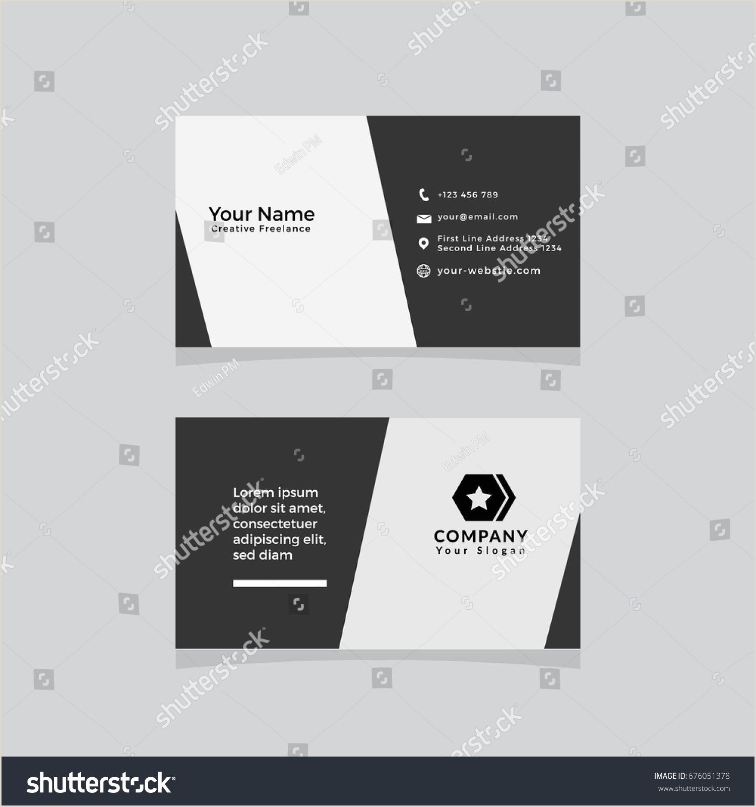 Visting Card Template Double Sided Business Card Template Flat Design Vector
