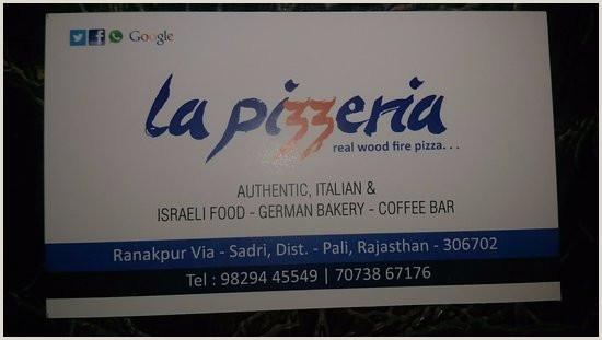 Visting Card Visting Card Picture Of La Pizzeria Ranakpur Tripadvisor