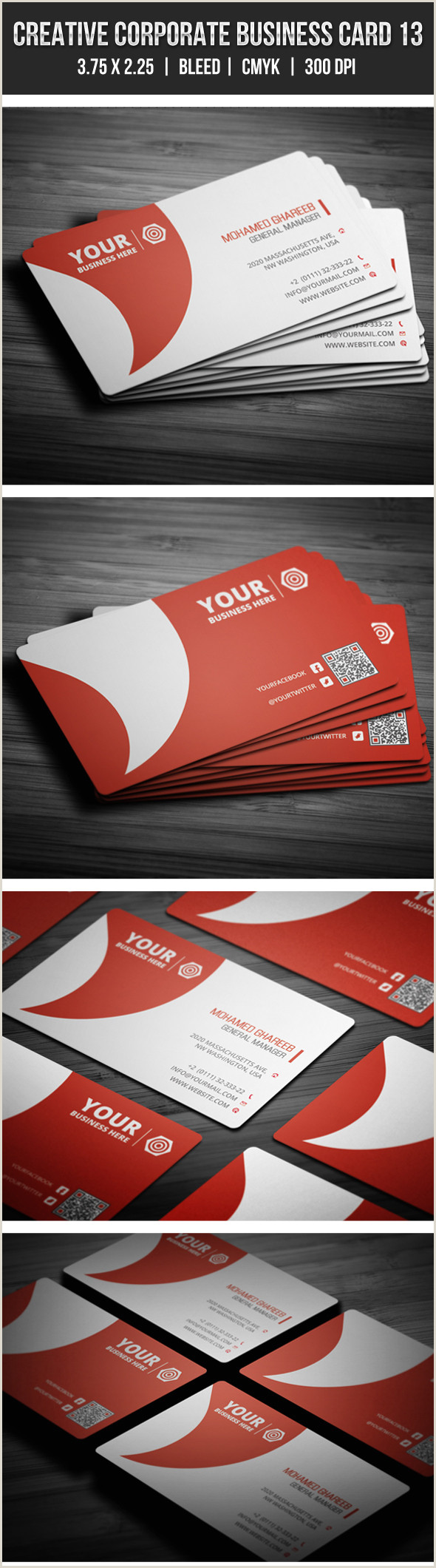 Website On Business Card Clean Red Corporate Business Card Template With Embedded Qr