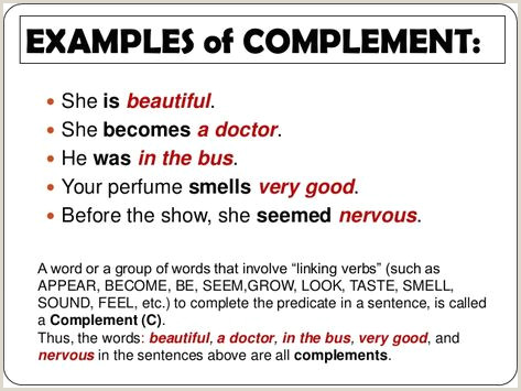 Which Of The Following Is The Best Example Of Complements? 80 Best Sentence Syntax Grammar Images In 2020