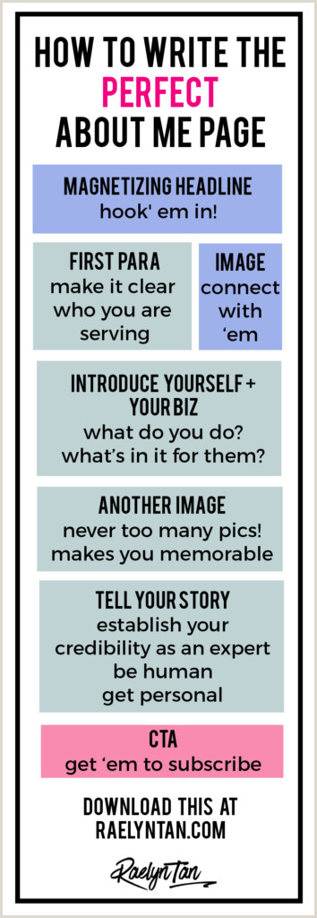 About Me Sample For Blog How To Write The Perfect About Me Page Printable Template