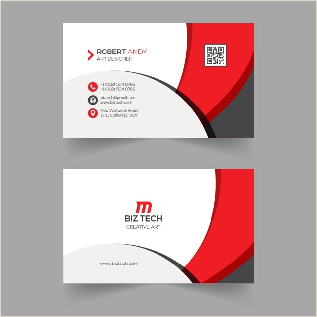 Art Business Card Red Vector Business Card Template