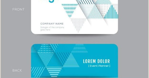Back Of Business Card Template Download Business Card with Blue Triangles for Free
