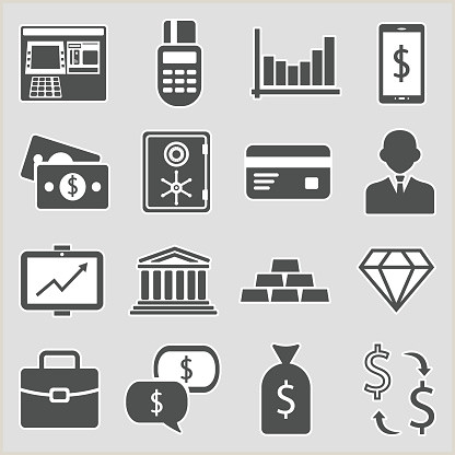 Back Of Business Card Template Finance And Banking Icons Sticker Design Vector Illustration Stock Illustration Download Image Now