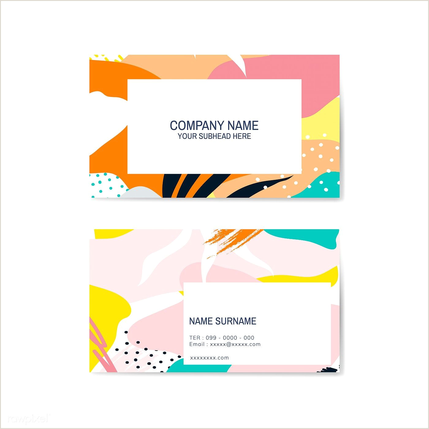 Background For Business Card Colorful Memphis Pattern Business Card Vector