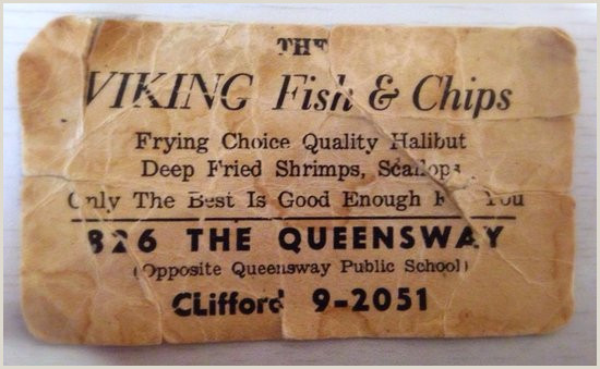 Best Business Card Old Business Card Picture Of Viking Fish & Chips Toronto