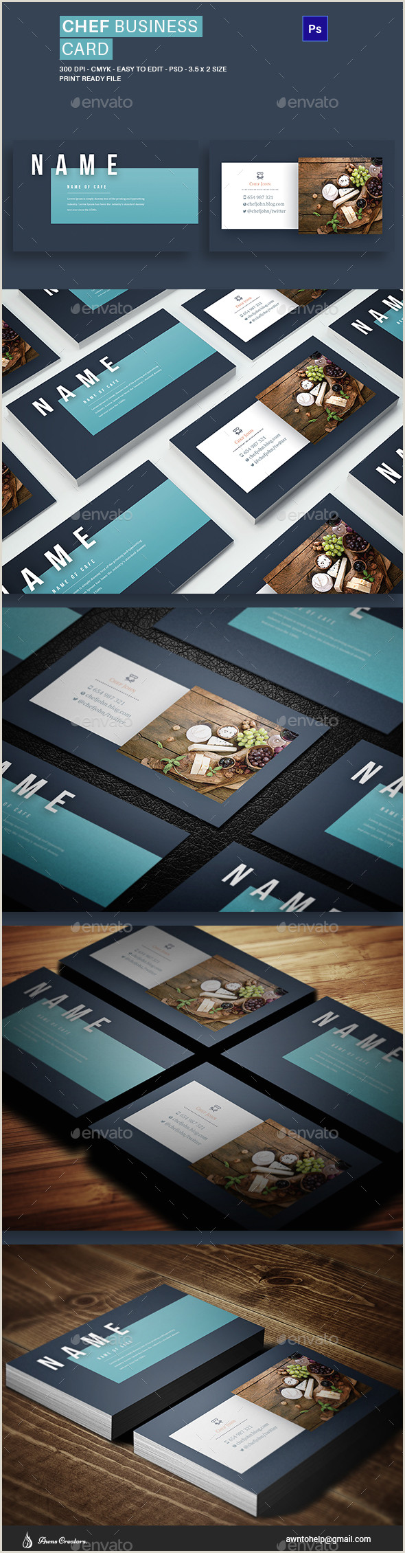 Best Business Cards For Chefs Chef Business Card Graphics Designs & Templates
