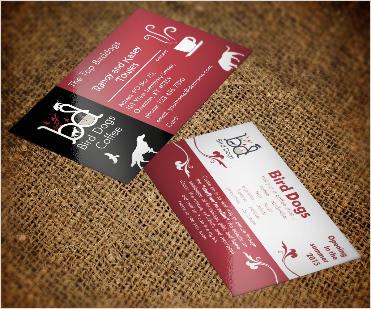 Best Business Cards For Real Estate Birddogs New Coffee Shop Business Card