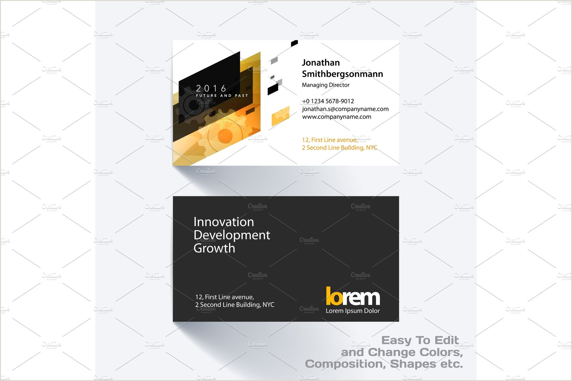 Best Business Cards Geometric Vector Business Card Template With Colourful Strong Geometric Shapes