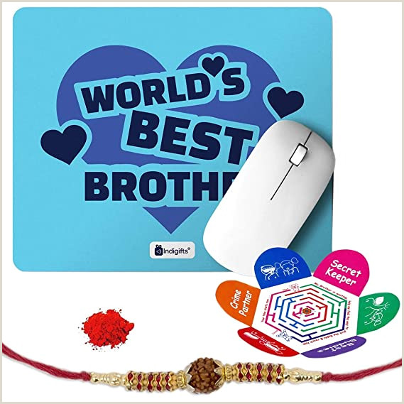 Best Business Cards Points Bonus Indi Ts Rakshabandhan Gifts For Brother World S Best Bro Quote Printed Mouse Pad 8 5×7 Inches Rudraksha Rakhi Roli & Greeting Card Rakhi For