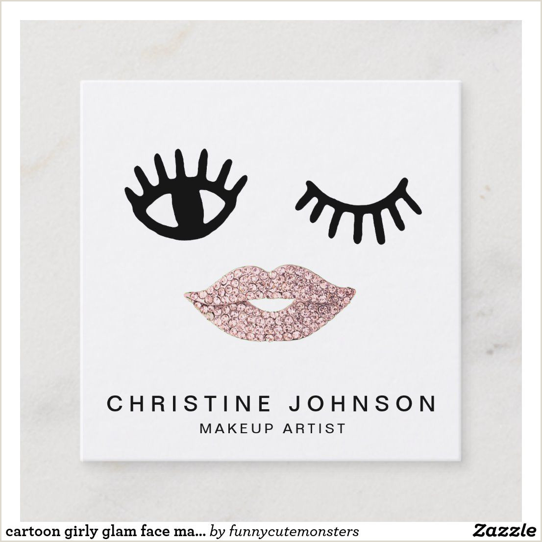 Best Business Cards Raleigh Cartoon Girly Glam Face Makeup Artist Square Business Card