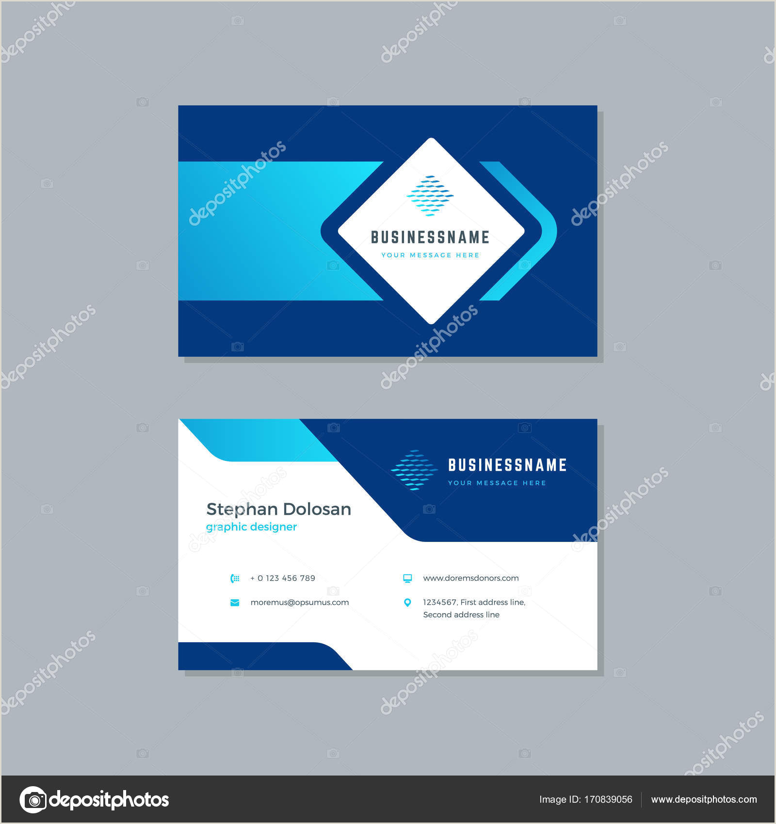 Best Business Cards Teal Blue Business Card Design Trendy Blue Colors Template