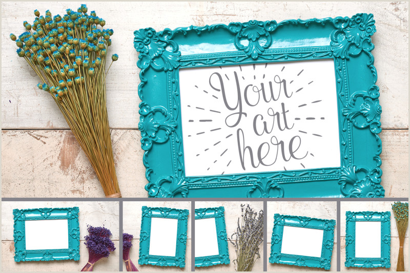 Best Business Cards Teal Blue Download Dainty Delicate Flowers And Frames Mockup Set Psd