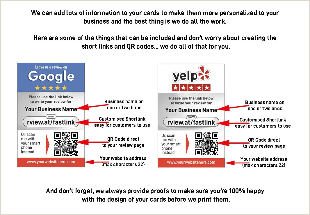 Best Business Cards Yelp 1000 Google My Business Yelp Dual Review Cards Review Cards