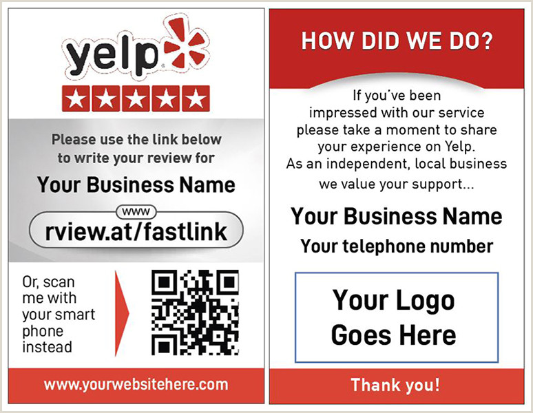 Best Business Cards Yelp 250 Yelp Review Cards