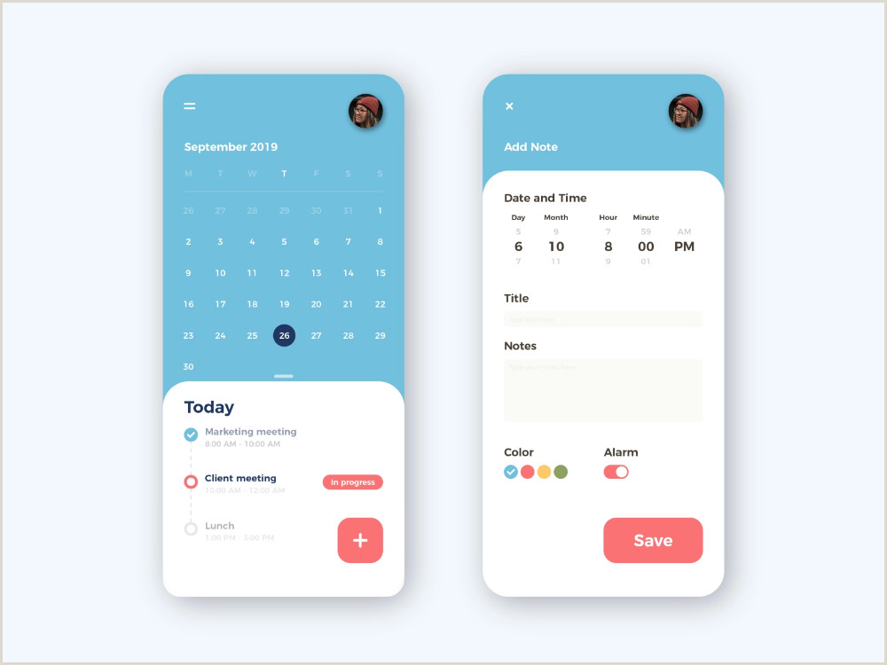 Best Time To Post On Dribbble Calendar App Design