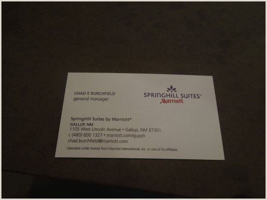 Biusiness Cards Manager S Business Card Picture Of Springhill Suites By