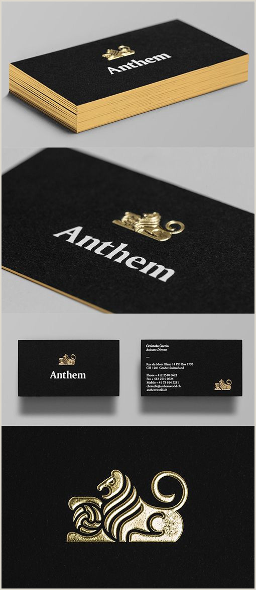 Black Business Card With Gold Lettering Distinctive Gold Foil Embossed Logo A Black Business Card