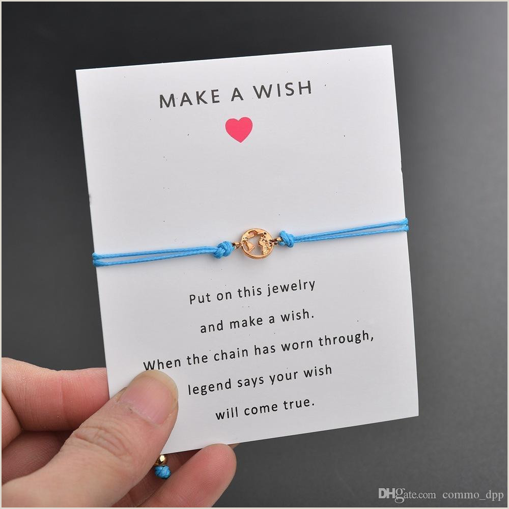 Black Business Card With Gold Lettering Make A Wish Bracelets With Card Gold World Map Charm Red Blue Black White Pink String Rope Chains Bangle Fashion Crafts Jewelry Jewelry Graduation
